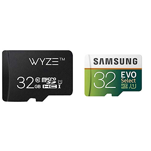 Wyze Labs Expandable Storage 32GB MicroSDHC Card Class 10 & Samsung 32GB 95MB/s (U1) MicroSD EVO Select Memory Card with Adapter (MB-ME32GA/AM)