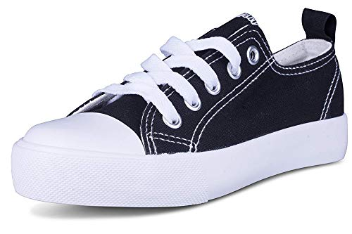 Kids Sneakers Tie up Slip on Canvas Laces Children- Girls Boys Youth Toddler - Causal Comfortable Cap Toe Shoes (3 Kids, Black/White)