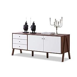 Baxton Furniture Studios Harlow Mid-Century Modern Scandinavian Style Wood Sideboard, White and Walnut