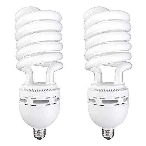 Luxrite LR20225 (2-Pack) 105-Watt High Wattage CFL Spiral Light Bulb, Equivalent to 400W Incandescent, Warm White 2700K, 6000 Lumens, E26 Standard Base (High Wattage Spiral)