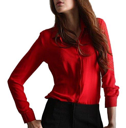 Haut Casual Chemises t Chemisiers Femmes Tops Revers Rouge Manches Blouse Fashion Mousseline Longues JackenLOVE t61YX