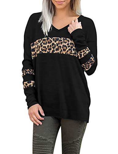 Blooming Jelly Women's Long Sleeve V Neck T Shirts Leopard Print Tops Colorblock Casual Loose Tee(M,Black)
