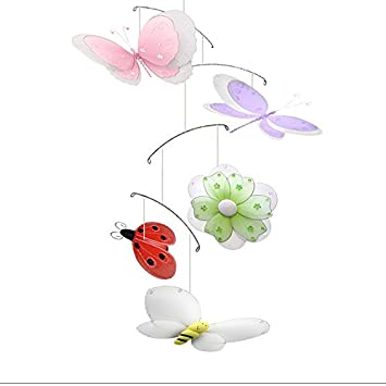 Butterfly Dragonfly Ladybug Flower Bee Multi Layered Nylon Mesh Mobile Decorations Decorate Baby Nursery Bedroom