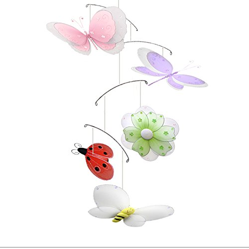 Infant Baby Mobile Shower (Butterfly Dragonfly Ladybug Flower Bee Multi-Layered Nylon Mesh Mobile Decorations Decorate Baby Nursery Bedroom Girls Room Ceiling Decor Birthday Party Baby Shower Crib Mobile Hanging Baby Mobile 3D)