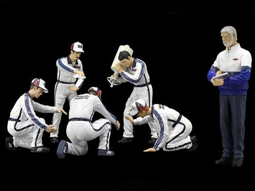 """F1 Pit Crew Figurines Team """"Martini"""" Racing Set of 6 pc 1/18 by True Scale Miniatures 10AC05"""