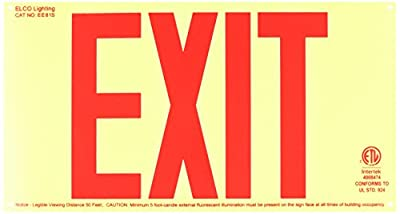 Elco Lighting EE81S Self Illuminating Exit Sign Red Letters