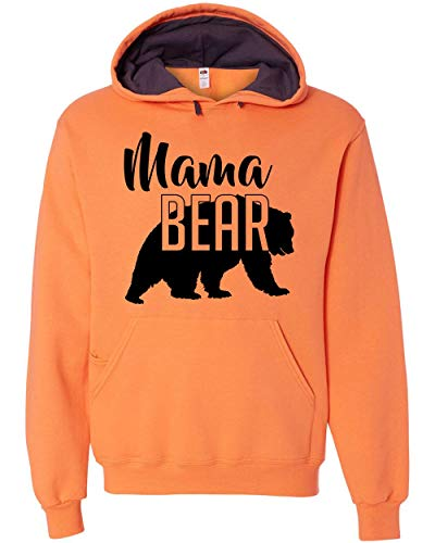 Custom Apparel House Mama Bear Hoodie Mom Women Soft Hoodie Adult Unisex,Small, Orange