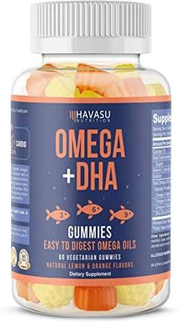 Havasu Nutrition Omega 3,6,9 + DHA Gummies to Support Brain, Joint & Cardiovascular Health - Aids Vision & Immune Health, Non-GMO, Gelatin-Free, Plant Based Oils, Natural Flavors, 60 Vegetable Gummies