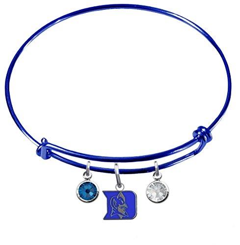 (Duke Blue Devils BLUE Expandable Wire Charm Bracelet Bangle w/ Team Color Crystals)