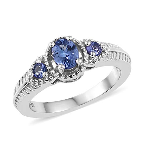Oval Tanzanite Ring 925 Sterling Silver Platinum Plated Jewelry for Women Size 5 Ct ()