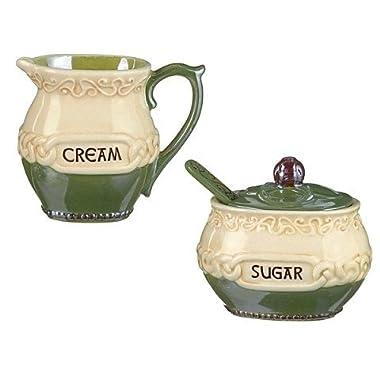 Irish Celtic Ceramic Cream & Sugar with Spoon Set by celebrating heritage