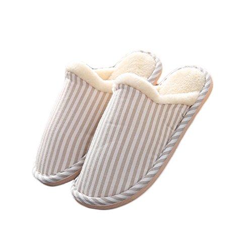 Pantoufles Décontractés Unisexe Confort Pantoufles De Coton Anti-dérapant Pour Hommes Et Femmes À Lintérieur Des Chaussures Kaki M (nous Taille 7-8)