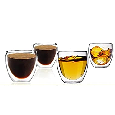 Sun's Tea (TM) Double Wall Espresso Coffee Cups/Vodka Shot Glass (Set of 4)