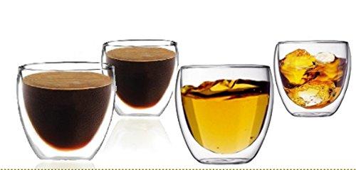 Sun's Tea (TM) Double Wall Espresso Coffee Cups/Vodka Shot Glass (Set of 4)