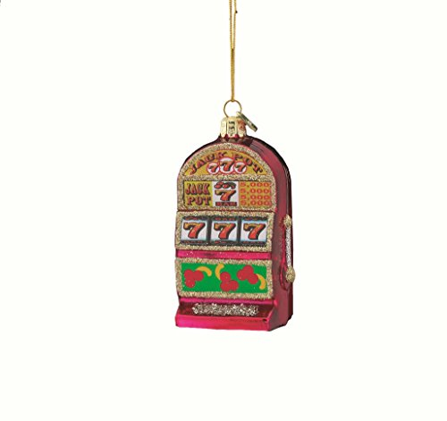 Noble Gems Kurt Adler 3-1/2-Inch Glass Slot Machine (Slot Machine Ornament)