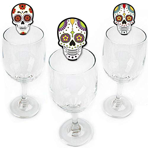 Big Dot of Happiness Day of the Dead - Shaped Halloween Sugar Skull Party Wine Glass Markers - Set of 24