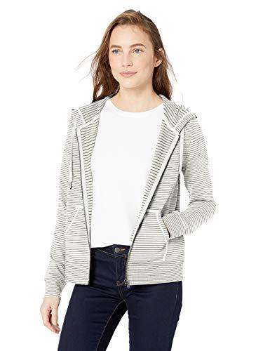 Amazon Brand - Daily Ritual Women's Terry Cotton and Modal Full-Zip Hooded Sweatshirt, White-Black Skinny Stripe, X-Large Cotton Full Zip Sweater