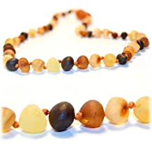 The Art of CureTM Raw Multicolored Baltic Amber Mens/Womens Adult Healing Necklace 17 Inches- w/The Art of CureTM Jewelry Pouch