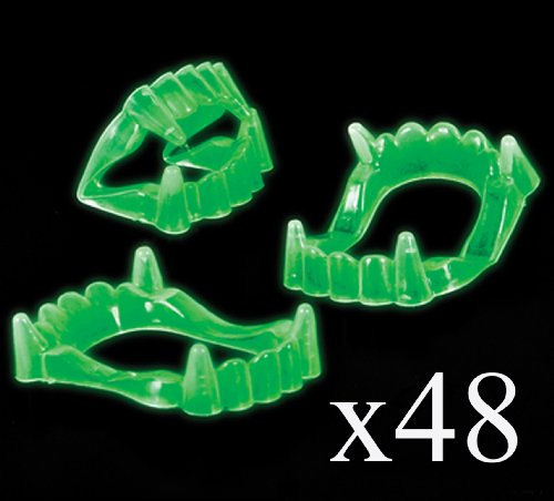 48 Glow in the Dark Vampire Fangs Halloween Party Favors Trick-or-treat Loot Bag Giveaways -