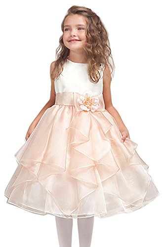 KID Collection Girls Ivory/peach Flower Girl Pageant Dress Size 10