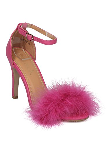 Alrisco Women Feather Stiletto Sandal - Ankle Strap Stiletto Sandal - Party Dressy Cosplay Formal Heel - HD61 by Betani Collection - Fuchsia Leatherette (Size: 5.5)