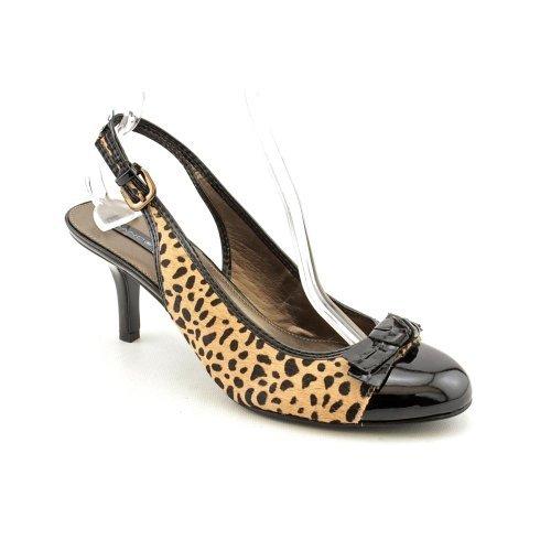 Bandolino Womens Milady Fur Peep Toe SlingBack Classic Pumps Black Size 5.5
