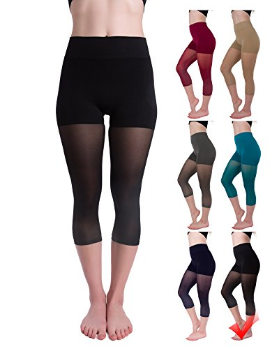 Homma Cropped Mesh Thights Fashion Leggings (Large, Black)