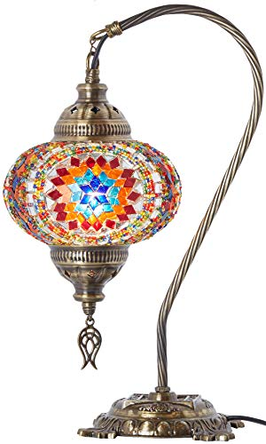 (33 Colors) DEMMEX 2019 Turkish Moroccan Mosaic Table Lamp with US Plug & Socket, Swan Neck Handmade Desk Bedside Table Night Lamp Decorative Tiffany Lamp Light, Antique Color Body (7)