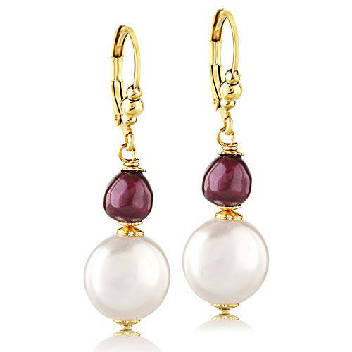 Dangling White/Maroon Pearl Earrings - Gold Coated Hypoallergenic Surgical Steel