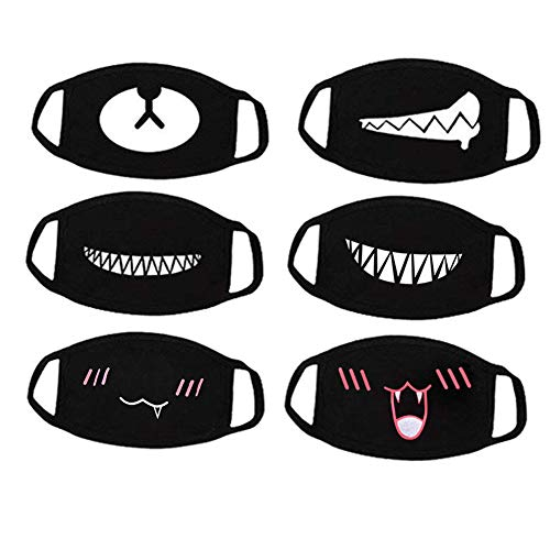 Aliyaduo 6 Pcs Mouth Mask Unisex Cartoon Teeth Pattern Three Layers Cotton Half Face Mask Anti-dust Mask,Black