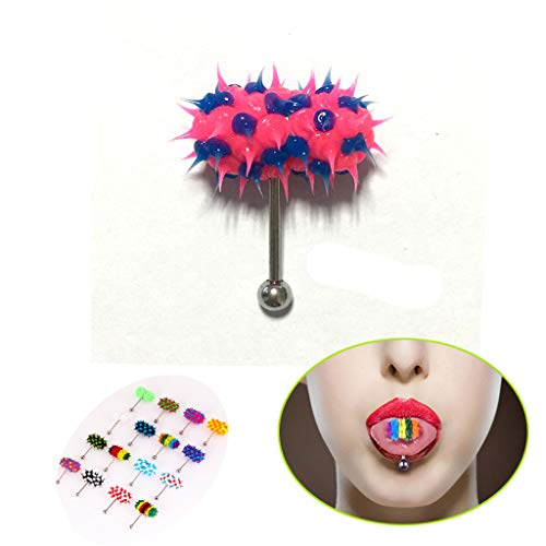 uhmhome Vibrating Tongue Ring Surgical Steel Navel Ring Umbilical Body Piercing Kit Jewelry
