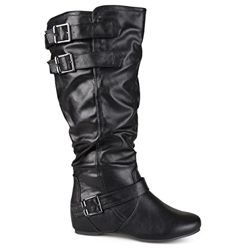 Brinley Co Women's Cammie-Xwc Slouch Boot, Black Extra Wide Calf, 9 M US (Boots High Knee Extra Wide Calf)