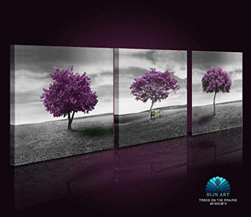 Yaoni Wall Art Painting for Home Decor Green Lawn Landscape Meadow Purple Tree On Green Field with Wood Park Bench in Black and White Vintage Style 3 Pieces Panel Paintings