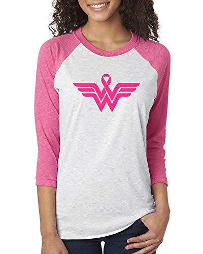 - Breast Cancer Awareness Pink Ribbon Superhero Logo 3/4 Sleeve Raglan T-Shirt Small White/Pink