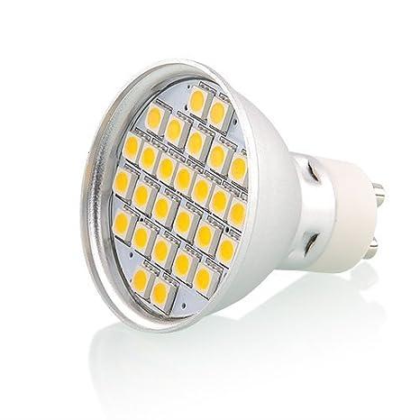 amzdeal® 4 X GU10 Lamparas led, bombillas led, Blanco Cálido 230V 27SMD 5050 5W lamparas de techo, luces led, focos led, Original: Amazon.es: Electrónica