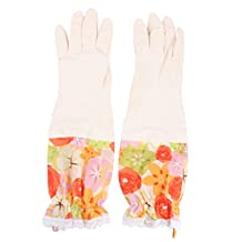 uxcell® Latex Flower Pattern Household Elbow Long Dishwashing Working Cleaning Gloves 44 x 13cm Pair