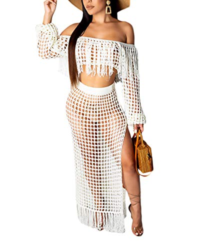 Womens Summer Two Piece Outfits - Off Shoulder Tassels Crop Tops + Split Sheer Party Maxi Long Dresses Skirts White#2 S - Net Tube Dress