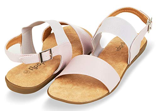 Floopi Summer Sandals for Women   Cute, Open Toe Sandals  Comfy, Wide Elastic & Faux Leather Ankle Straps W/Buckle Design, Flat Sole, Memory Foam Insole (10, ()