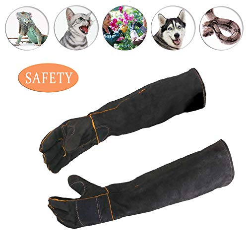 (ATROPOS 23.6inch Animal Handling Gloves-thickened cowhide Anti-bite/scratch Gloves Protection Gloves, Feed Gloves for Dog Cat Bird Snake Parrot Lizard Wild Animals)