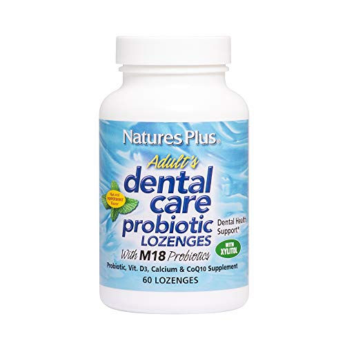 (Natures Plus Adults Dental Care Probiotic - 60 Vegetarian Lozenges - Peppermint Flavor - Supplement for Teeth & Gum Health, Promotes Fresh Breath - Gluten Free - 30 Servings)
