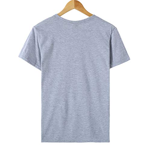 FakMe Short Sleeve T Shirt for Women, Summer Letter Printed Round Neck Top Tunics Casual Blouse (S, Gray)