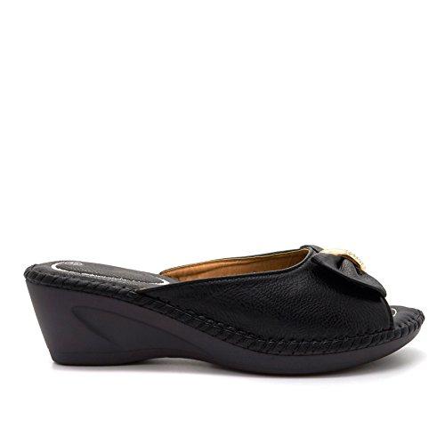London Footwear - talón abierto mujer negro