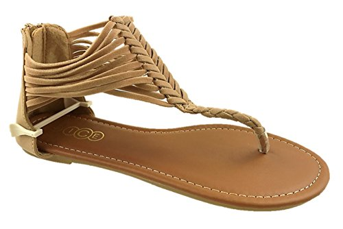Ladies ICE Faux Back Camel Size Flat UK Sandals Toe Post 8 3 Suede Strappy Zip dawaZr