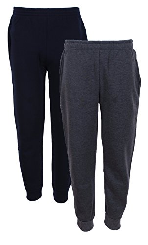 Quad Seven Boys' Fleece Jogger Sweatpants, Size 16/18, Navy & Charcoal (Boys Sweatpants Size 18)