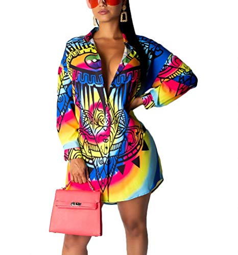 Remelon Womens Rainbow Eye Tribal Print Button Down Collar Long Shirt Dress Blouse Mini Dress Multi ()