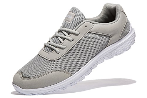 Cheap newluhu Mens Running Shoes Lightweight Breathable Outdoor Athletic Lace-up Casual Fashion Sneakers Mesh Soft Sole (8.5US/42EU, Grey)