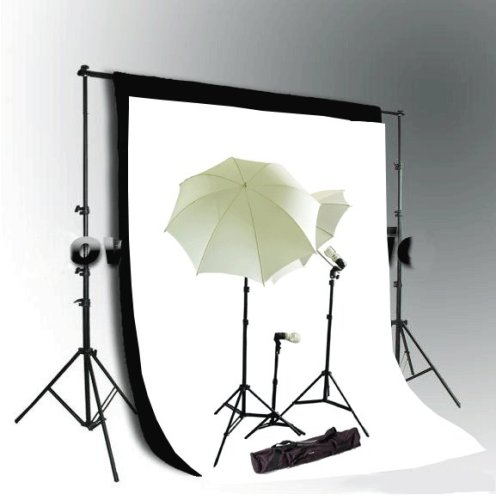 CowboyStudio Photo and Video Studio Continuous Lighting Kit, 10 X 20ft Black & White Muslin Backdrops with Heavy Duty Backdrop Support System by CowboyStudio