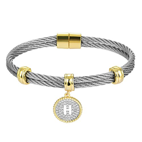 BIJOUX BOBBI [Luxury Packaging Alphabets Cubic Zirconia Twisted Wire Initial Bracelets - A4168BXK-H