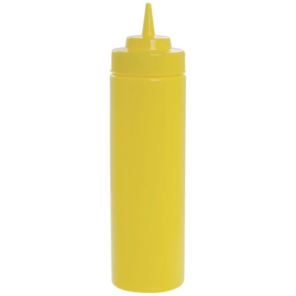 Tablecraft 24 Oz Yellow Polyethylene Widemouth Squeeze Bottle - 2 3/4''Dia x 10 1/2''H