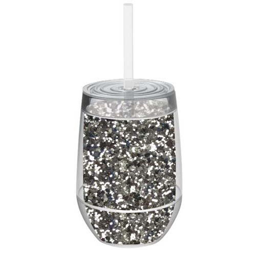 Stemless 10oz Glitter Wine Glasses By Slant Collections (Silver Glitter)